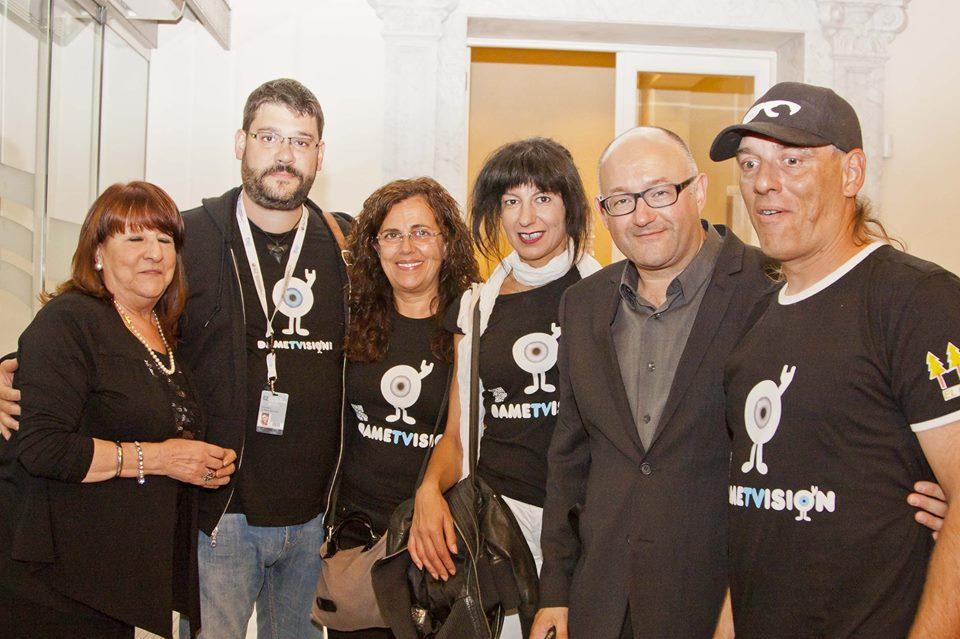 Parte del equipo de Dametvision con José Luis Rebordinos, dtor. Zinemaldia Foto: María Ona