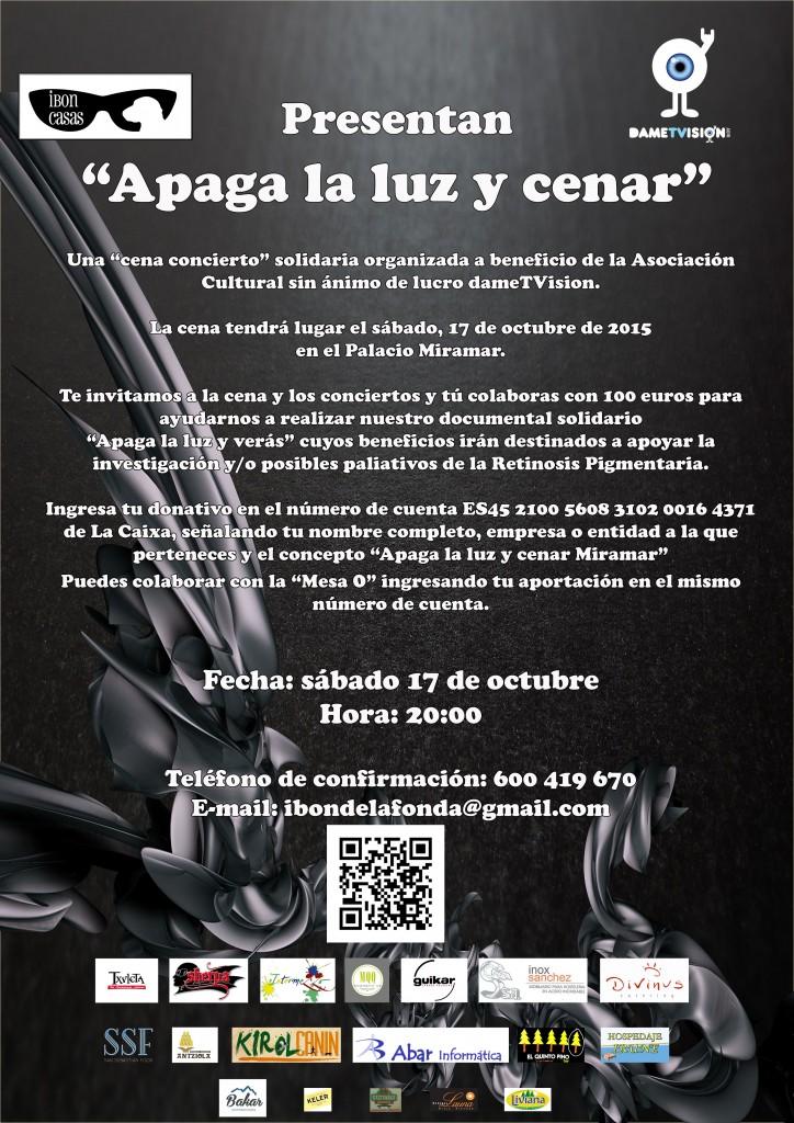 Cartel Invitación Apaga la luz y cenar Miramar 2015